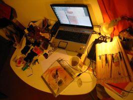 My desk by Akeiron