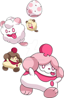 684 and 685 - Swirlix Evolutionary Family by Tails19950