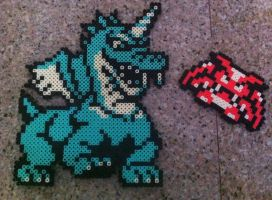 Aquamentus and a Vire perler by Birdseednerd