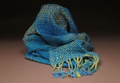 Silk Noil Scarf-Blue by cherry767