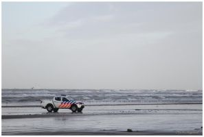 Dutch police on the beach by Claudia008