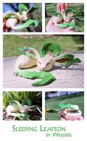 Sleeping Leafeon Sculpture by BeeZee-Art