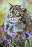 Cat and Flowers by TainTed-LoVe92
