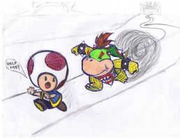 Bowser Jr. and toad by hell0-g00dbye