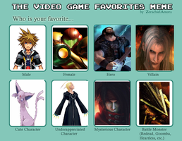 The Video Game Favourites Meme by ThunderWolfang