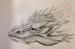 Smaug Head Portrait-Sketch by EemsArt