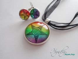 Rainbow star pendant and earrings by Nayru25