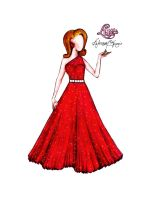 Red Dress Illustration for Leanne Sherwood by LuxCostumeDesign