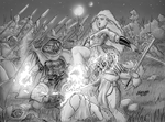 Wild Elf and Drow battle by Shabazik