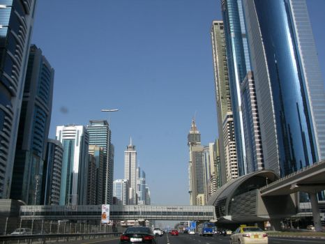 Dubai Skylines on main city highway 2 by Aruthizar