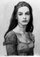 Pencil drawing Anne Hathaway :Les Miserables (re) by shuckaby