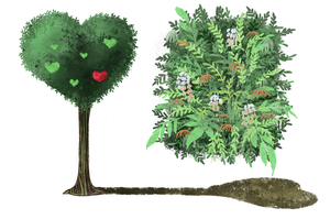 Shrubs and Small Heart trees by ROSEL-D