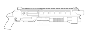 Perfect Dark Shotgun Lineart by MasterChiefFox