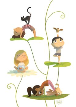 Yoga with animals by l3onnie