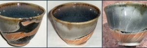 Orange, Blue, and Black Bowl by ColoradoPotter