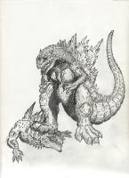 Godzilla 2000 over Gino by Pyrotyrannis