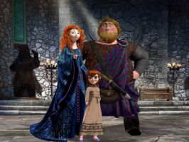 Queen Merida and King Neilan and daughter Iona by veggie-chick221