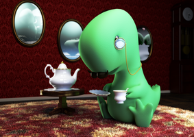 Tea-Rex Print Edition by FluffyBlueCow