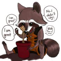 Rocket and Baby Groot by pencilHeadno7