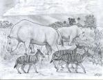 Two herbivores from Miocene South America (2011). by jwmorenob