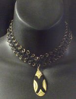 Black and Gold Chaimail Choker by MorganCrone