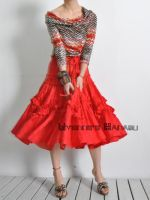 Red Jacquard 50s Full Skirt 6 by yystudio