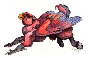 Red Lory Gryphon by caramitten