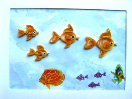 Gold Fish Family in Quilling by eidatwong