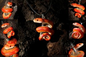 Strawberry Motley Corn Snake Necklace by IllusionTree
