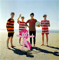 John, Paul, George, Ringo and Pinkie at the beach by Bronyman1995