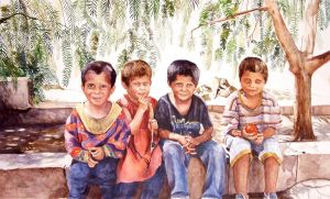 Lebanese watercolor - Children by Bizriart