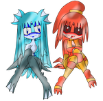 Sel and Key -Water and Fire Gals- by SeleanaMermaid-Kechi