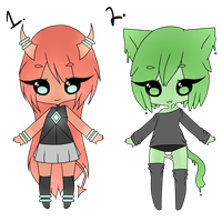 (CLOSED) Point Adoptables: Demon and Slime Kitty by Acetylace-Adopts