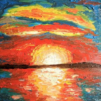 Sunset Oil Painting by golfiscool