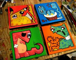 four painted pokemon by chunkysmurf
