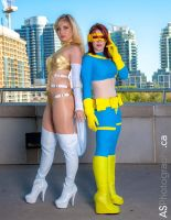 Emma Frost and Femme Cyclops by TenderCosplay