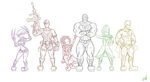 The Secret Six Collab (Rough Sketch) by DullVivid