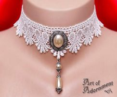 Champagne Pearl Lace Choker by ArtOfAdornment
