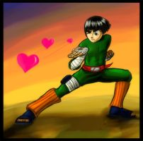 Rock Lee : Throwing hearts by feawen