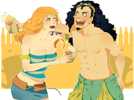 Usopp and Nami by ilaBarattolo