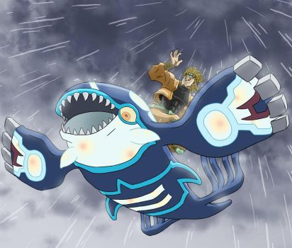 Dio on a Kyogre ::Birthday Giftart:: by Galactic-Rainbow