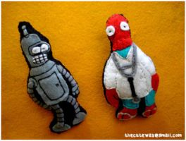 .:Futurama broochs:. by SaMtRoNiKa