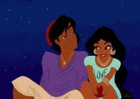 Modern Couple: Aladdin and Jasmine by Tella-in-SA