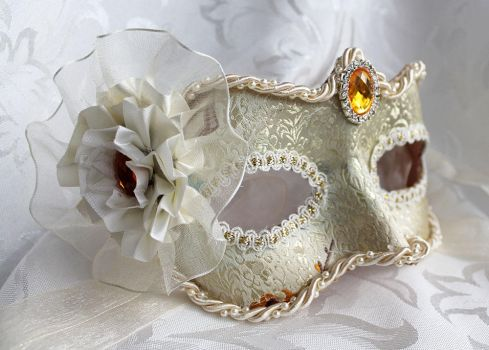 Ivory Brocade Leather Masquerade Mask with Gems by DaraGallery