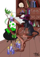 Witches Cat and the Magic Book -coloring progress- by Bliood-Kira