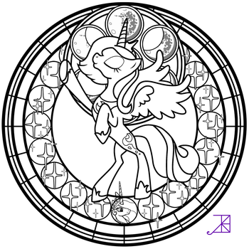 Stained Glass: Luna Season 1 -take 2- -line art- by Akili-Amethyst