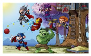 'Lil' Avengers Club' Ink and Color by irongiant775