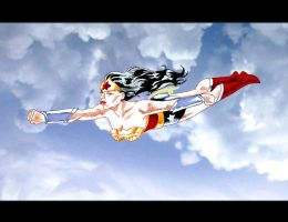 Wonder Woman Flying. by nailsin