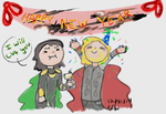 Thor And Loki New Year 2014 by M-jolnir