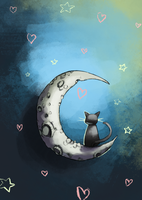 The Cat and the Moon by Vannelee